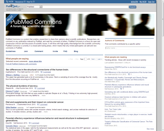 PubMed Commons Homepage